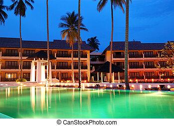 koh, 島, 現代, 闡明, 夜晚, 泰國, chang, 池, 游泳