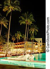 koh, 島, 躺, 綠色, 佛, 闡明, 雕像, 夜晚, 泰國, chang, 池, 游泳