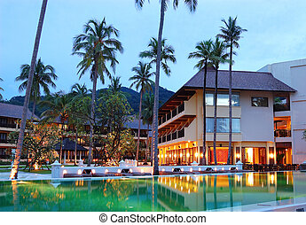 koh, 島, 餐館, 戶外, 綠色, 池, 夜晚, 泰國, chang, 闡明, 游泳