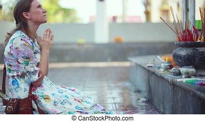koh, bogini, kobieta, modli się, kolana, potas, młody, laem., plai, kompleks, nadchodzący, multi-armed, wat, świątynia, 1920x1080, samui