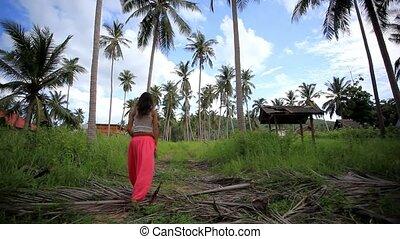 koh, femme, appelle, perdu, help., jeune, jungle, thailand., hd., 1920x1080, samui