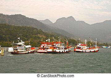 koh, fisherboats, chang, tailandia