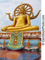 koh, grande buddha, statua, tailandia, samui