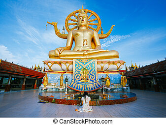 koh, grande, phra, yai, buddha, tailandia, wat, templo,...