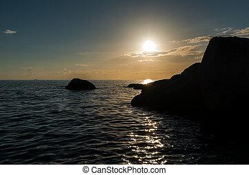 koh, isla,  -, ocaso, paraíso,  Tao