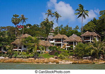 koh, isla, tropical, casa, tailandia, playa, samui