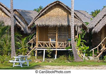 koh, isla, tropical, thailand., casa, phangan, playa
