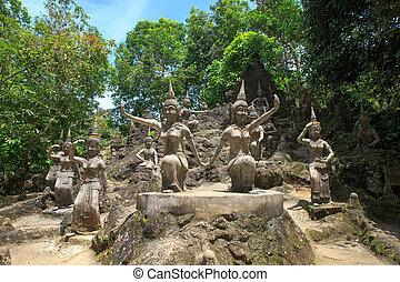 koh, jardín, isla mágica, samui, tanim, buddha, tailandia