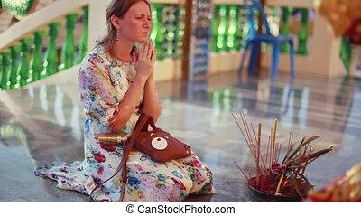 koh, kobieta, kolana, laem., smutny, modli się, plai, kompleks, nadchodzący, wat, świątynia, 1920x1080, samui