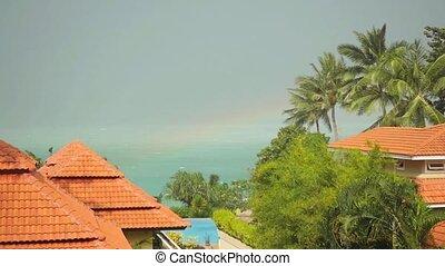 koh, lent, île, toit, exotique, mouvement, maisons, thailand., pluie, seaview, rainbow., tomber, gouttes, 1920x1080, samui