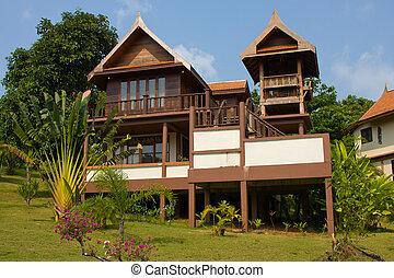 koh, mak, isla, tropical, casa, tailandia, playa