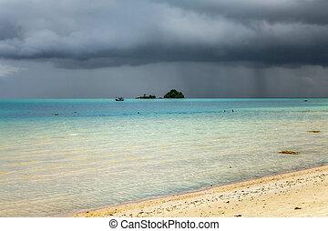 koh, nuvens, ilha, sobre, andaman, sea., tempestade, chang