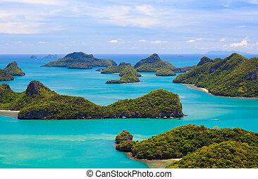 koh, ojo, angthong, pájaro, parque, tailandia, vista, marina...