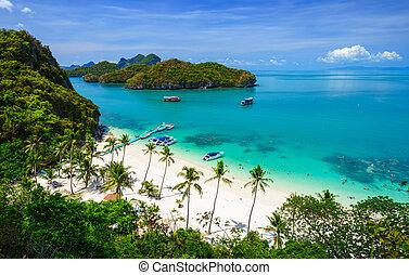 koh, parc, angthong, vue, national, marin, thaïlande, oiseau...