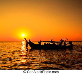 koh, phi, coucher soleil, mer, thaïlande, bateau