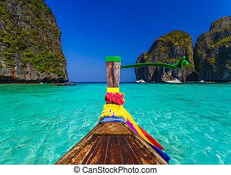 koh, phi, maya, île, leh, méridional, baie, traditionnel, longtail, thaïlande, krabi, bateau