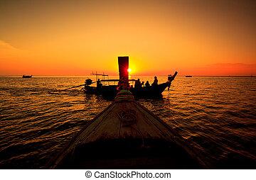 koh, phi, ocaso, mar, tailandia, barco