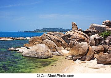 koh, playa., tailandia, aduelo, roca, lamai, samui