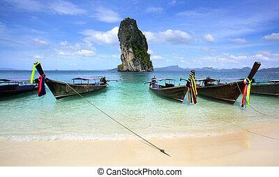 koh, poda, strand, krabi, sydlig, thailand