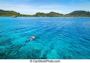 koh, rok, mar de andaman, tailandia, snorkeling