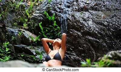 koh, samui, женщина, waterfall., молодой, воды, thailand., hd., сексуальный, falling, enjoying, 1920x1080