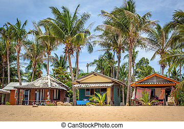beach bungalow with coconut trees