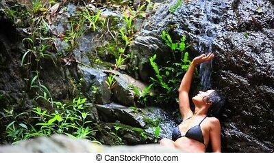 koh samui, femme, waterfall., jeune, eau, thailand., hd., sexy, tomber, apprécier, 1920x1080