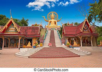 koh samui, isla, buddha, estatua, grande