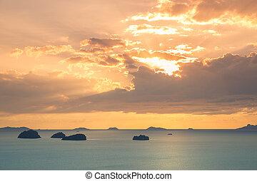 koh samui, isola, angthong, tramonto, mare, tempo, isole, tailandia, vista