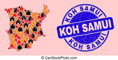 Koh Samui Map Collage of Fire and Properties and Distress Koh Samui Seal Stamp