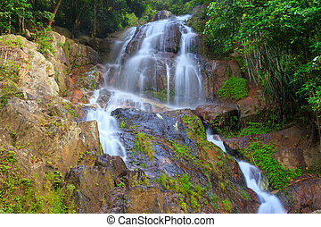 koh samui, na, tropical, selva, cascada, muang
