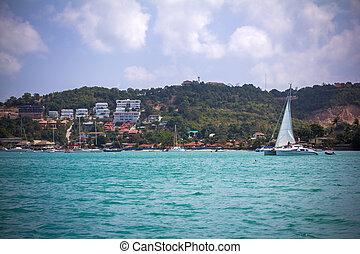 koh samui, navegación, isla, costa, anclado, barco