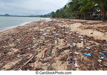 KOH SAMUI, THAILAND - APRIL 1: Flood and storm debris on...