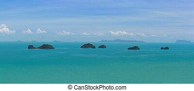 A view from the south west coast of Koh Samui in the Gulf of Thailand.