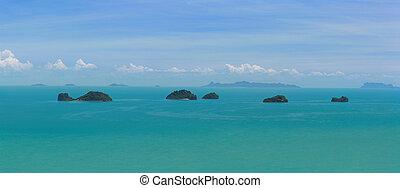 koh samui, vista, y, cinco, islas