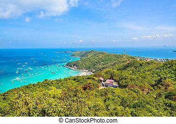 koh, stad, eiland, tropische , thailand, pattaya, strand, larn