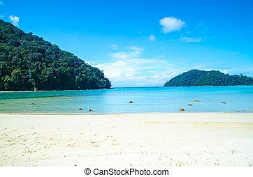 koh, surin, isla, azul, mar, y, playa de arena