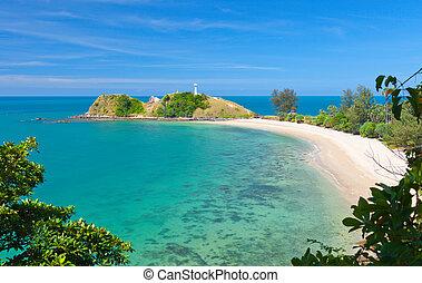 koh, világítótorony, tengerpart., lanta, nemzeti park, krabi...
