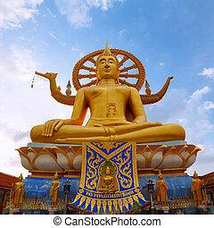 koh, wat, 26:, dorado, diciembre, tailandia, phra, -, yai,...