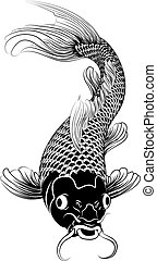 Beautiful black and white vector illustration of a Japanese or Chinese inspired koi carp fish
