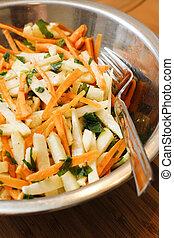 Kohlrabi and carrot salad with apple  ginger sauce