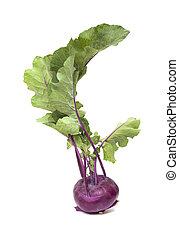 Purple Kohlrabi cabbage isolated on white