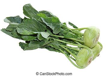 Bundle of kohlrabi turnip isolated on white background