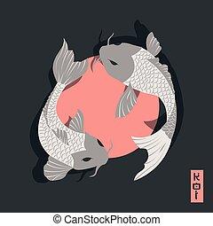 koi, スタイル, のまわり, 鯉, 日本語, 2, 伝統的である, 太陽, fish, 水泳