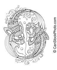 Koi carp coloring book for adults vector - Koi carp fish...