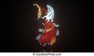 Koi Carp - digital art. Japans symbol as happiness, wealth, ...