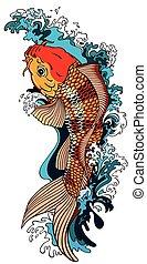 koi carp goldfish - koi carp gold fish swimming upstream. ...
