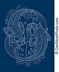 Koi carp tattoo design vector illustration - Koi carp fish...