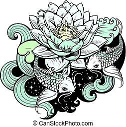 Artistic illustration of koi carps in tattoo style