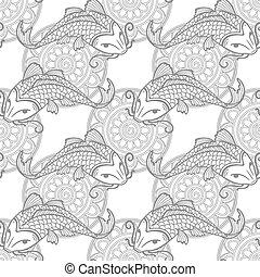 Koi carps seamless texture - Vector seamless pattern with...